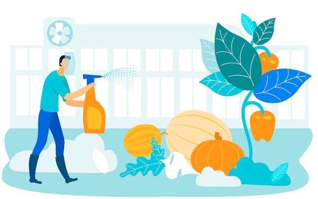 Man in protective mask processes vegetable. vector