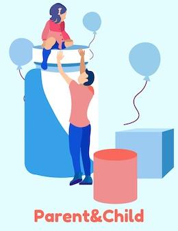 Человек тянет руки маленькая девочка. родитель и ребенок.