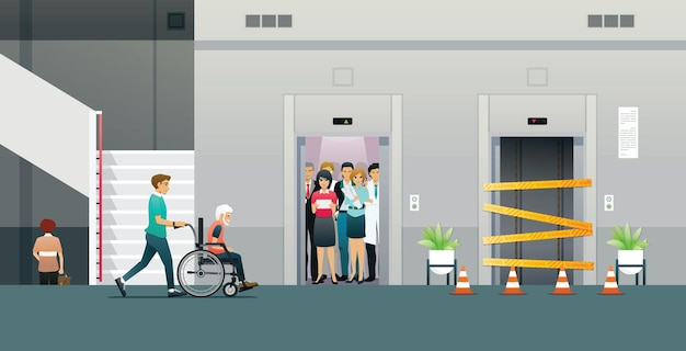 A man pushing a wheelchair whose elevator is crowded and under maintenance