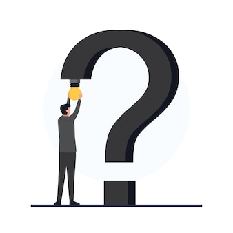 Man put bulb in the edge of question mark metaphor of problem solving.