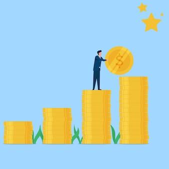 Человек положил монету, чтобы достичь звездной метафоры цели и мечты. бизнес плоская иллюстрация концепции.