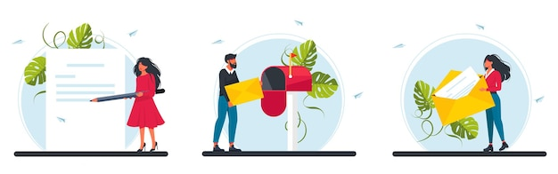 Man put letter to mail box. tiny woman hold huge yellow envelope. characters writing, sending or getting post mails messages concept. postage, communication. email concept vector illustration