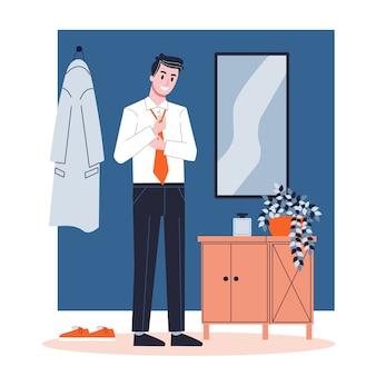 Мужчина надел галстук на шею. деловая одежда, белая рубашка и черные брюки. парень одевания. иллюстрация в мультяшном стиле