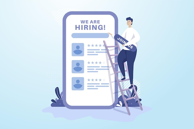 A man puts up join us board for hiring recruitment illustration concept