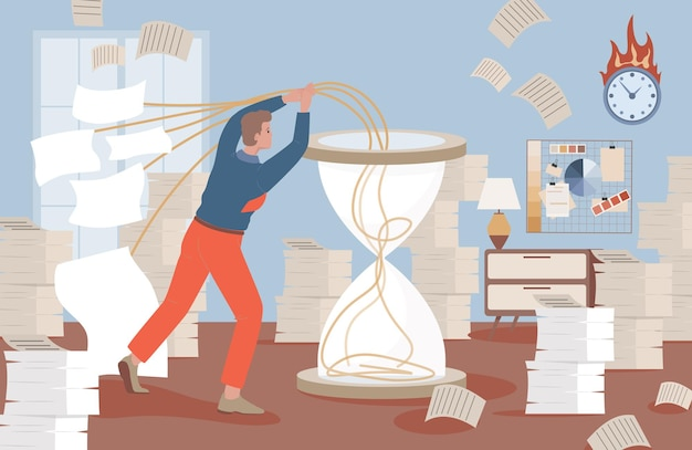 Man puts work projects in hourglass vector flat illustration time