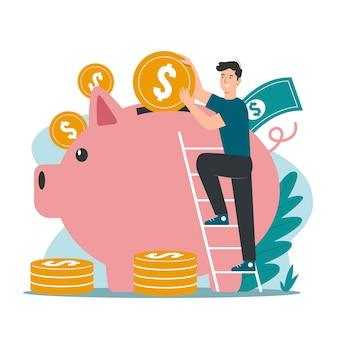 돼지 저금통에 동전을 넣는 남자. 돈 절약 개념