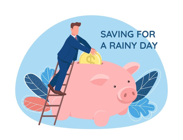 Man putting coin in piggy bank 2d web banner, poster. saving for rainy day phrase. flat character on cartoon background. money savings printable patch, colorful web element