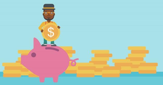 Man putting coin in piggy bank