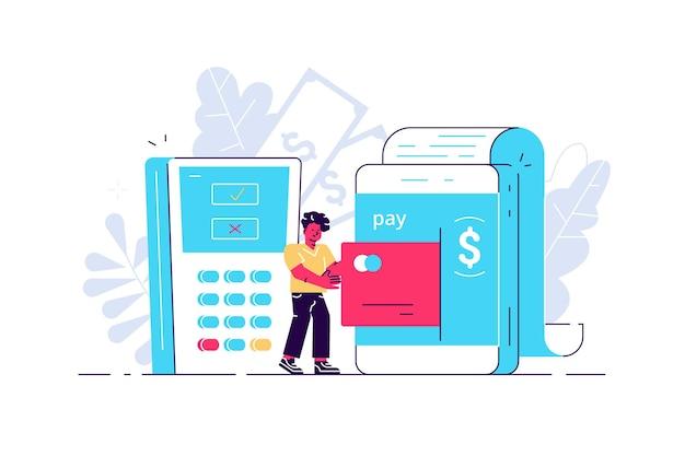 온라인 결제를 위해 스마트 폰에 신용 카드를 넣는 남자