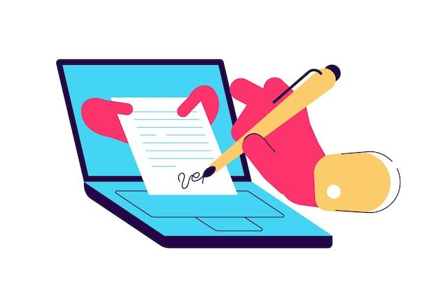법적 문서에 서명을 넣는 남자. 디지털 서명 개념. 온라인 계약 또는 계약을 체결하는 사업가. 플랫 만화 스타일의 다채로운