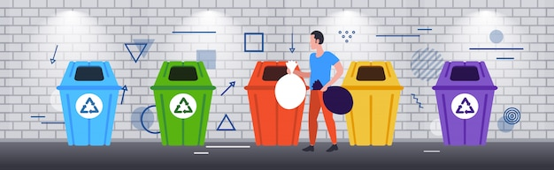 Man putting garbage bags in different types of recycling bins segregate waste sorting management cleaning service concept sketch horizontal full length