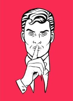 조용한 침묵을 위해 그녀의 입술에 그녀의 집게 손가락을 넣어 남자