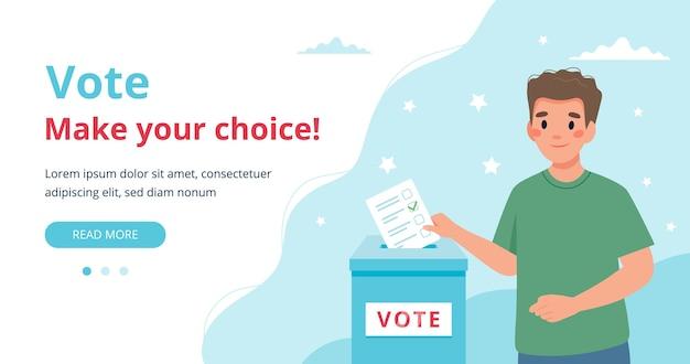Man putting vote into the ballot box illustration