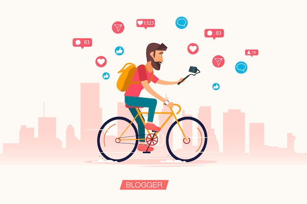 Man raid on bicycles video blogs. active bloggers character.