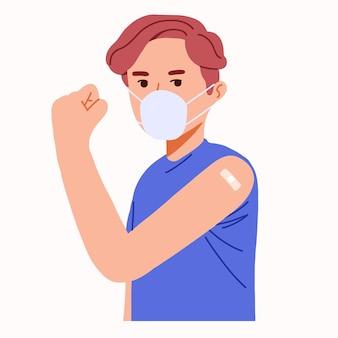 남자는 팔을 들어 바이러스 코로나 covid 건강에 대한 신체 면역 항체 방어를 보여줍니다.