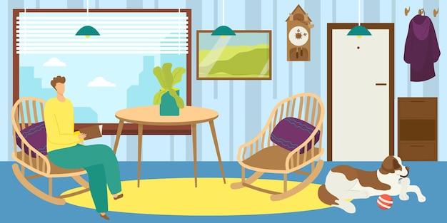 男は家で読むベクトルイラスト男性の人のキャラクターは犬のペットの若いと本のリビングルームを保持します。