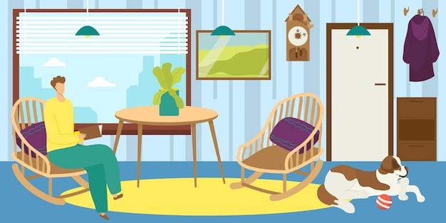 Man read at home vector illustration male person character hold book living room with dog pet young ...