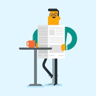 Человек читает газету и пить кофе.