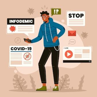 바이러스 infodemic에 대해 읽는 남자