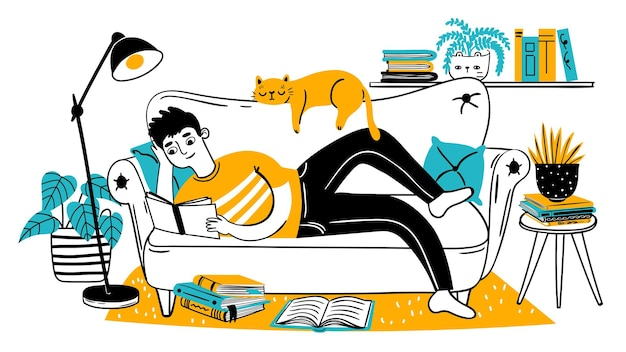 Man reading book on couch. relaxed adult reads on sofa with cat at home. hand drawn reader enjoying hobby. leisure lifestyle vector concept. man on couch study with book illustration