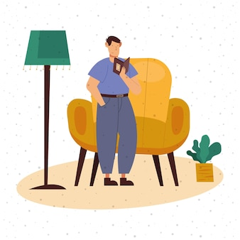 Man reading a book at home design, education literature and read theme  illustration