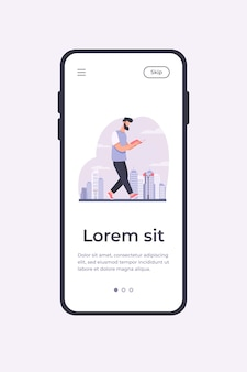 Man reading book while walking in city. student doing homework on run flat vector illustration. studying, education, reader concept for banner, website design or landing web page