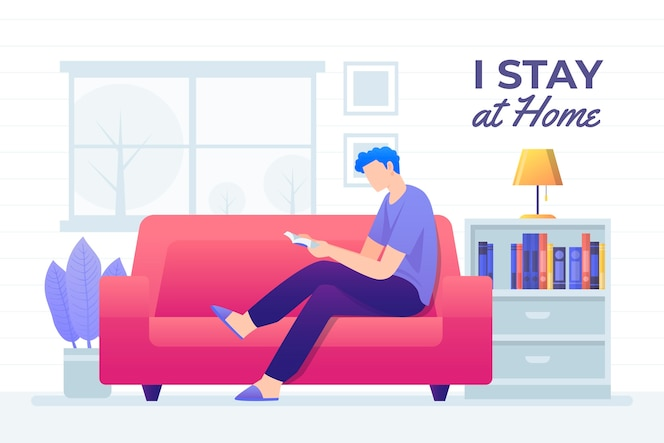 Man reading on couch illustration