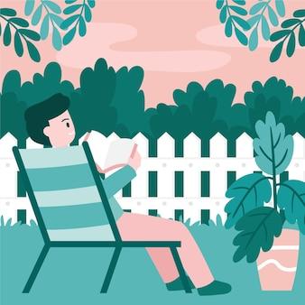 庭のステイケーションの概念を読んでいる人