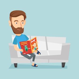 Человек читает журнал на диване, векторная иллюстрация