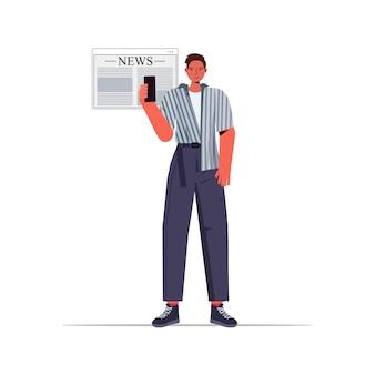 Man reading news on smatphone screen daily news press mass media concept full length illustration