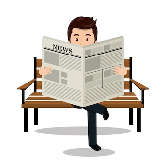 Man reading newspaper icon