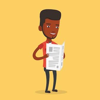 Человек, читая газету иллюстрации.