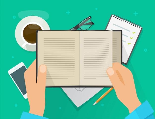 作業テーブルデスクまたは開いている教科書を押しながら平面図職場デスクトップデスクトップフラットスタイルイラストを学ぶ男性の手の上に紙の本を読んでいる人