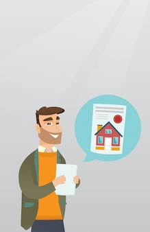 Man reading real estate advertisement.