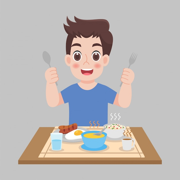 Man ready to eat hot foods, sausage, fried egg, soup. healthcare concept cartoon.