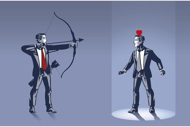 男は他のビジネスマンの上にリンゴを撃つ準備ができています