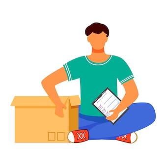 Человек получает посылку плоский цвет векторные иллюстрации. получаю пост и подтверждаю его. получение заказа в коробке. службы доставки. мальчик сидит рядом с коробкой изолированный мультипликационный персонаж
