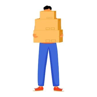 男は3つの小包フラットカラーイラストを受け取ります。郵便局で箱を手に入れる。注文を受け取る。配達サービス。パッケージで立っている少年は、白い背景の上の漫画のキャラクターを分離しました