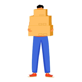 Man receives three parcels flat color illustration. getting boxes at post office. picking up order. delivery services. boy standing with packages isolated cartoon character on white background