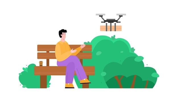 Человек получает посылку с помощью дрона мультяшный векторная иллюстрация изолированы