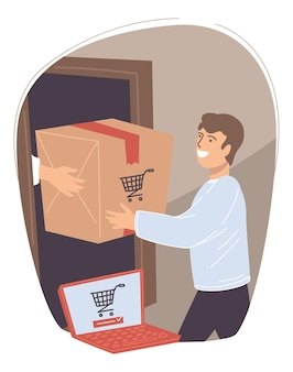 Man receiving order from online shop. male character happy to get box with goods bought in internet. personage with laptop showing trolley icon. shipment and delivery of products. vector in flat style