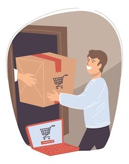 オンラインショップから注文を受けた男性。インターネットで購入した商品が入った箱を喜んで手に入れる男性キャラクター。トロリーアイコンを表示しているラップトップを持つ人物。製品の発送と配送。フラットスタイルのベクトル