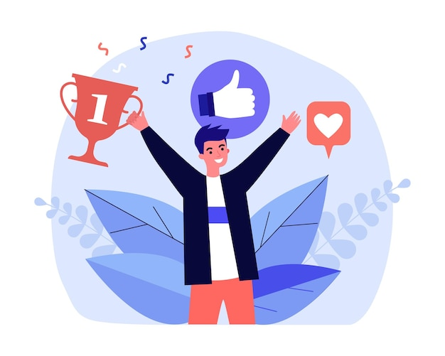 Man receiving universal recognition, positive reviews, prizes. flat vector illustration. young guy rejoicing in victory, success, popularity. social networks, youth, success concept for banner design