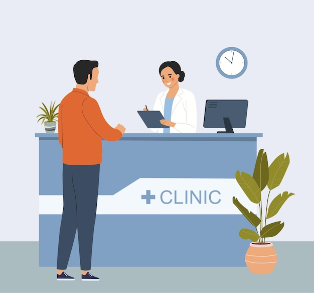 Man at the reception desk in the interior of the hospital. vector flat style cartoon illustration.