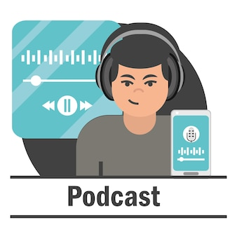 Человек записи подкаста, аудио смартфона