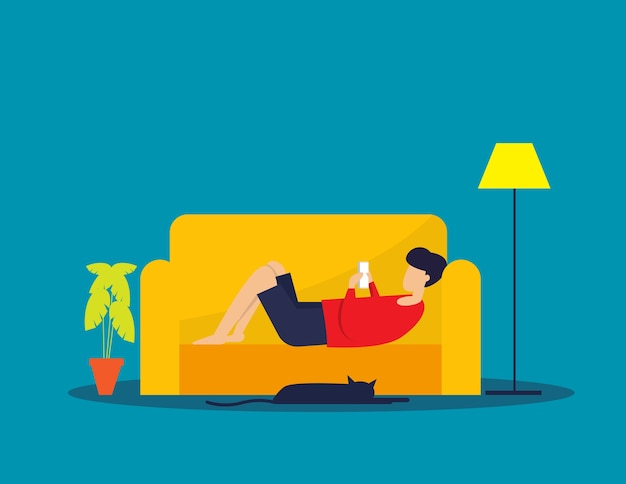 Man relax on sofa, playing smartphone, holiday