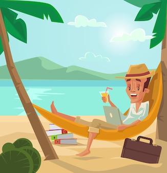 男はビーチでリラックスします。男は休暇があります。ビーチでの休日。フラット漫画イラスト