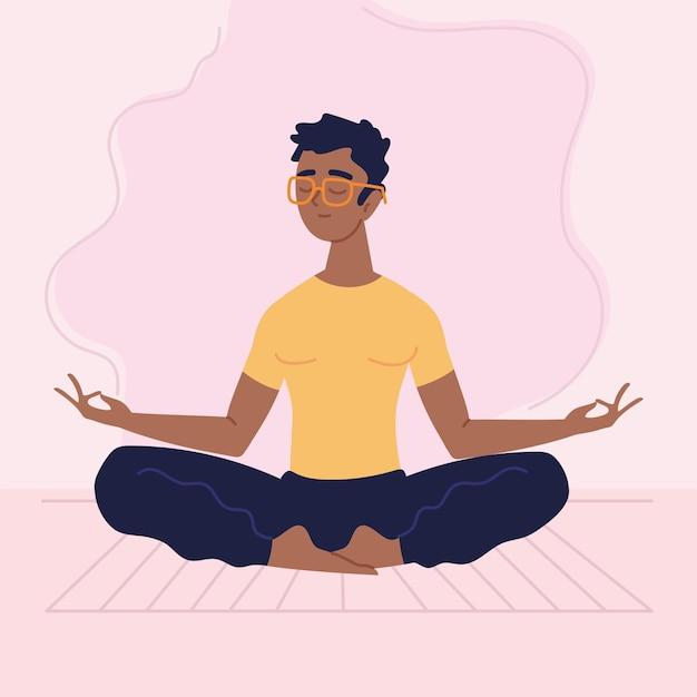 Человек расслабляется и медитирует