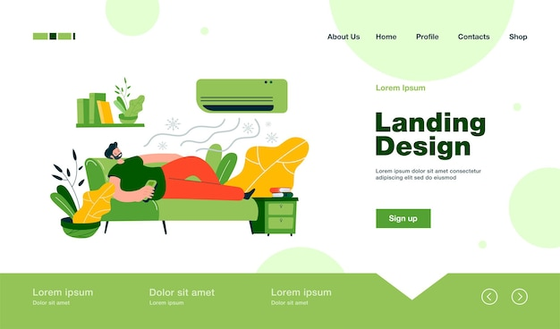 Man relaxing on couch under cold air flow from conditioner landing page in flat style