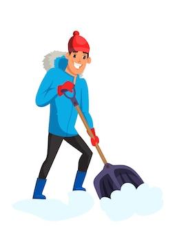 雪を取り除く男、白い背景で隔離の雪かきを持つ男性の漫画のキャラクター。